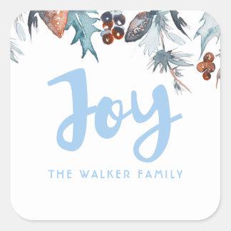 Sticker Carré Vacances de pins et de baies d'aquarelle