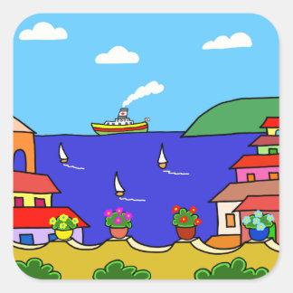 Sticker Carré Vacances méditerranéennes
