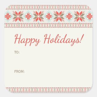 Sticker Carré Vacances nordiques de coutume de chandail de Noël