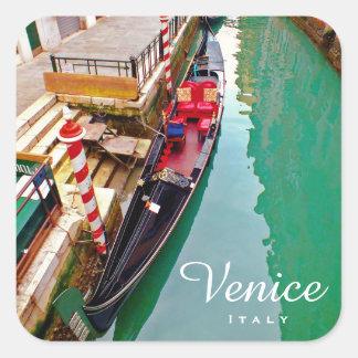 Sticker Carré Venise, Italie (IT) - station colorée de gondole