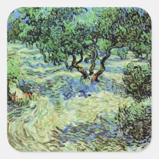 Sticker Carré Verger olive de Van Gogh, beaux-arts vintages