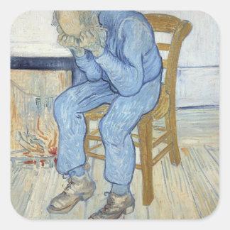 Sticker Carré Vieil homme de Vincent van Gogh | dans la peine