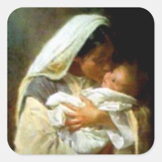 Sticker Carré Vierge Marie béni et enfant Jésus de nourrisson