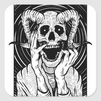 Sticker Carré visage de diable