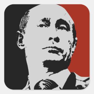 Sticker Carré Vladimir Poutine rouge