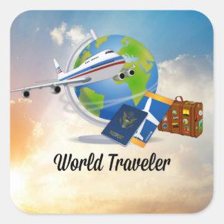 Sticker Carré Voyageur du monde, conception 2