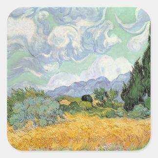 Sticker Carré Wheatfield de Vincent van Gogh | avec des cyprès,