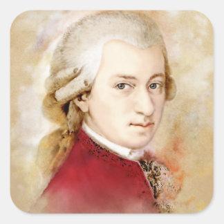 Sticker Carré Wolfgang Amadeus Mozart dans l'aquarelle style