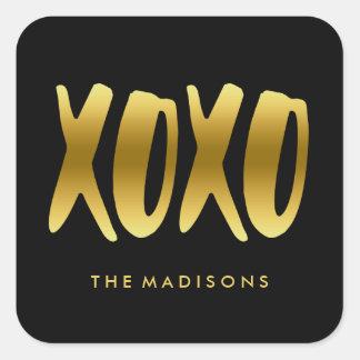Sticker Carré XOXO étreint et embrasse le noir de typographie