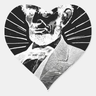 Sticker Cœur Abraham Lincoln grunge