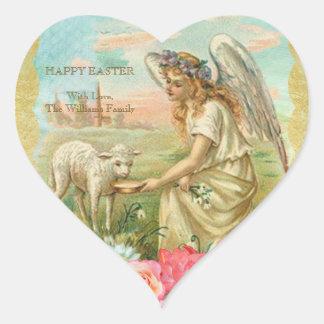 Sticker Cœur Agneau vintage d'ange de typographie heureuse de