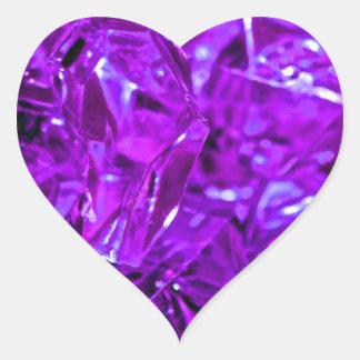 Sticker Cœur Améthyste pourpre de cristal de pierre gemme