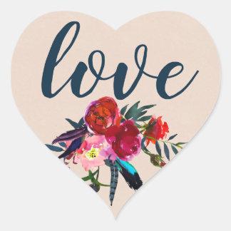 Sticker Cœur Amour chic rouge moderne de Boho de plume florale
