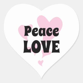 Sticker Cœur Amour de paix avec flotter les coeurs roses