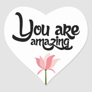 Sticker Cœur Amour floral rose de fleur, bonjour, pensant à