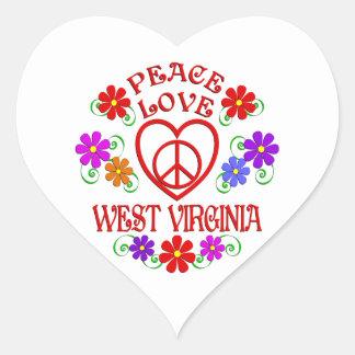 Sticker Cœur Amour la Virginie Occidentale de paix