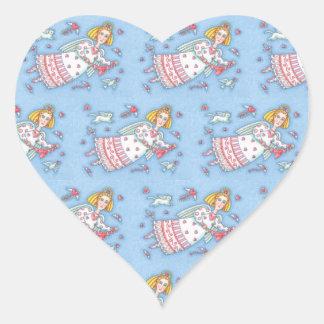 Sticker Cœur ANGE FOLKLORIQUE de feuille d'AUTOCOLLANT de