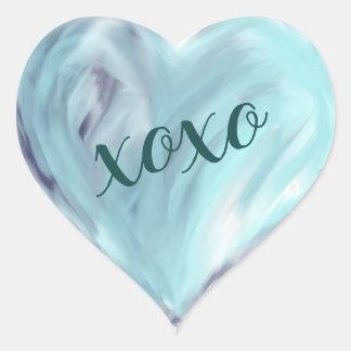 Sticker Cœur Aquarelle bleue de Xoxo de coeur d'amour peinte