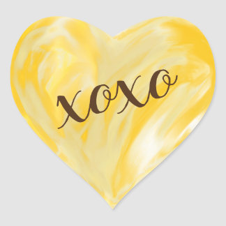 Sticker Cœur Aquarelle jaune-orange de Xoxo de coeur d'amour