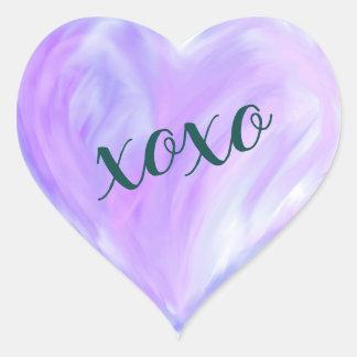 Sticker Cœur Aquarelle pourpre de Xoxo de coeur d'amour peinte