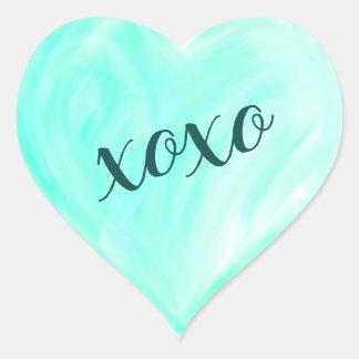 Sticker Cœur Aquarelle verte de Xoxo de coeur d'amour peinte