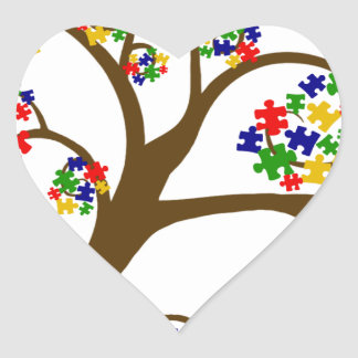 Sticker Cœur Arbre d'autisme de la vie