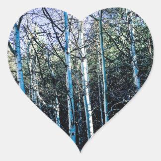 Sticker Cœur Arbres d'Aspen en automne