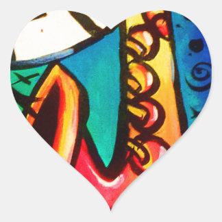 Sticker Cœur Art de musique de saxo