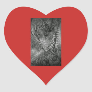 Sticker Cœur Art d'imaginaire de Madame de dragon par le cfw