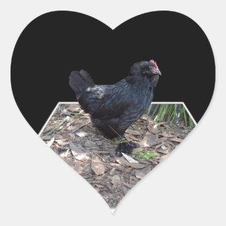 Sticker Cœur Art dimensionnel de coq noir,