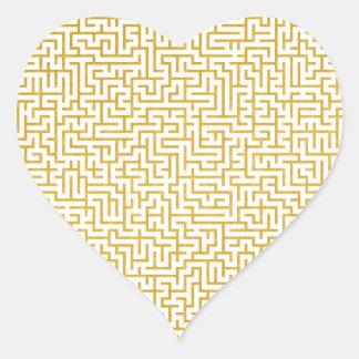 Sticker Cœur Art moderne de labyrinthe élégant - or et blanc