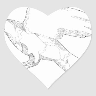 Sticker Cœur Art Swooping de griffonnage d'autour du nord