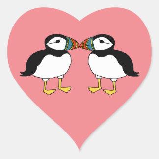 Sticker Cœur Baisers des macareux