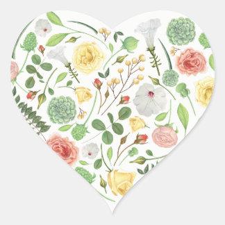 Sticker Cœur Beau coeur complètement des fleurs colorées d'été