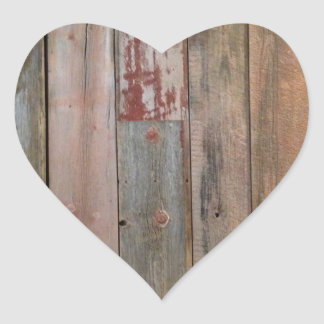 Sticker Cœur bois primitif de grange de pays occidental de