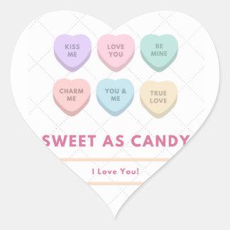 Sticker Cœur Bonbon comme sucrerie - je t'aime