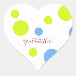 Sticker Cœur Bulles bleues jaunes géniales heureuses