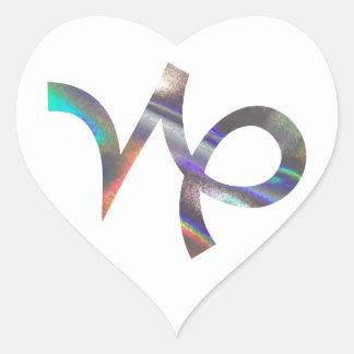 Sticker Cœur Capricorne d'hologramme