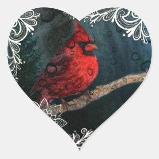Sticker Cœur Cardinal rouge de Noël primitif blanc de dentelle