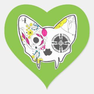 Sticker Cœur Chat de crâne de sucre
