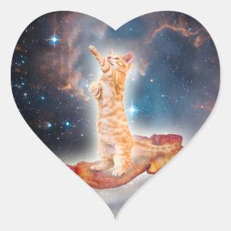 Sticker Cœur Chat surfant de lard dans l'univers