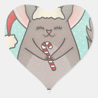 Sticker Cœur chinchillas de Noël