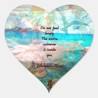 Sticker Cœur Citation d'inspiration de Rumi au sujet de