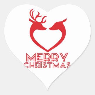 Sticker Cœur Coeur de renne