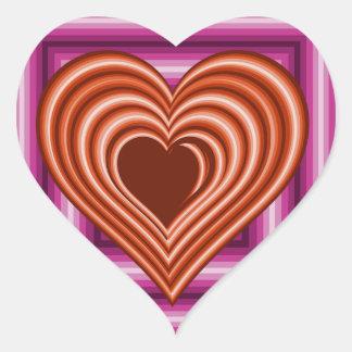 Sticker Cœur Coeur rouge sur le carré de rose