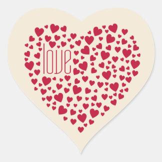 Sticker Cœur Coeurs complètement du rouge d'amour de coeurs