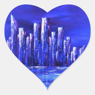 Sticker Cœur Conception bleue urbaine de Jane Howarth