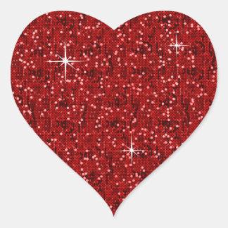 Sticker Cœur Confettis scintillants rouges