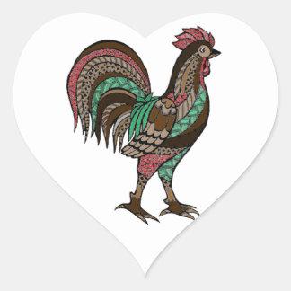 Sticker Cœur Coq
