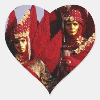 Sticker Cœur Costumes rouges au carnaval de Venise, Italie